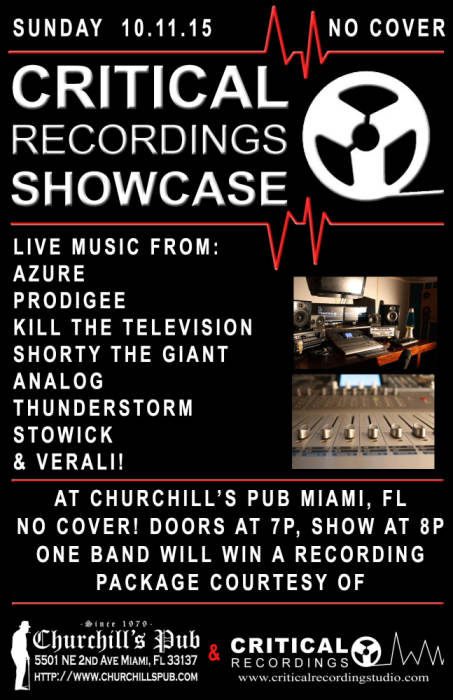 Critical Recordings Showcase with Azure, Prodigee, Kill the Television, Shorty the Giant, Analog, Stowick, Thunderstorm, & Verali! No Cover!