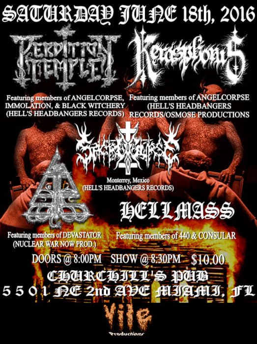 Vile Productions Presents: Perdition Temple, Kerasphorus, Sacrocurse, Gnosis, Hellmass
