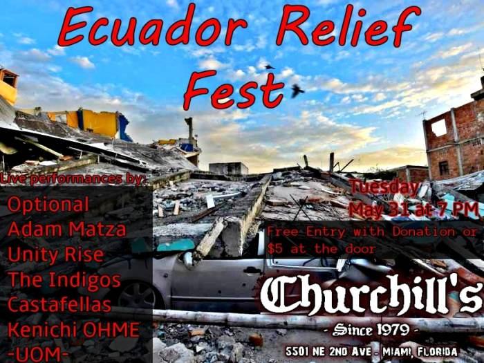 ECUADOR RELIEF FEST WITH Optional, Adam Matza, Unity Rise, The Indigos, Castafellas, Kenichi OHME, -UOM-, and more! Free with Donation!