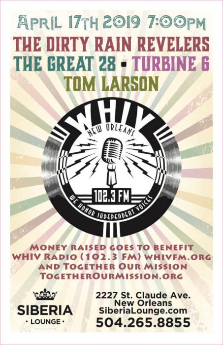 WHIV fundraiser: The Dirty Rain Revelers, The Great 28, Turbine 6, Tom Larson