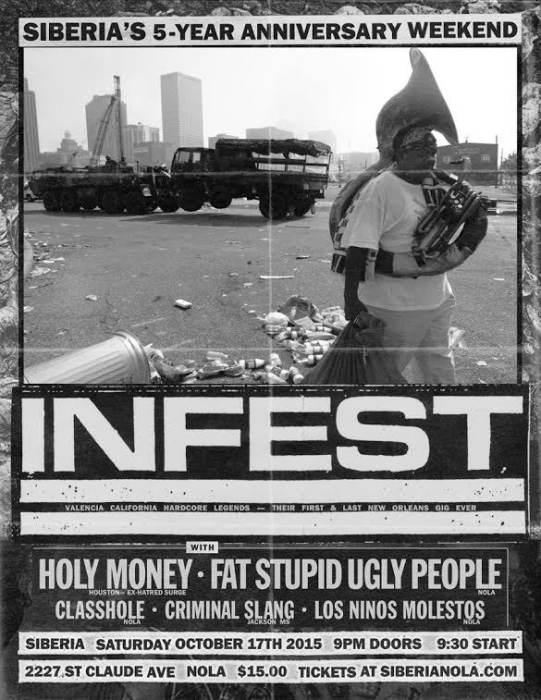 INFEST (L.A. Power-Violence Legends!) | Holy Money (TX, ex-Hatred Surge!!) | Fat Stupid Ugly People | CLASSHOLE | Criminal Slang | Los Ninos Molestos