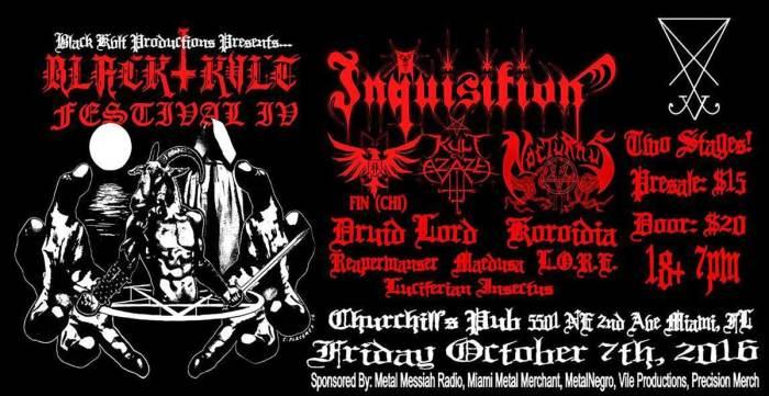 Black Kvlt Festival IV - Inquisition, Kult ov Azazel, Nocturnus A.D, Druid lord, Koroidia, Crowhurst, FIN, Reapermanser, Maedusa, L.O.R.E, & Luciferian Insectus