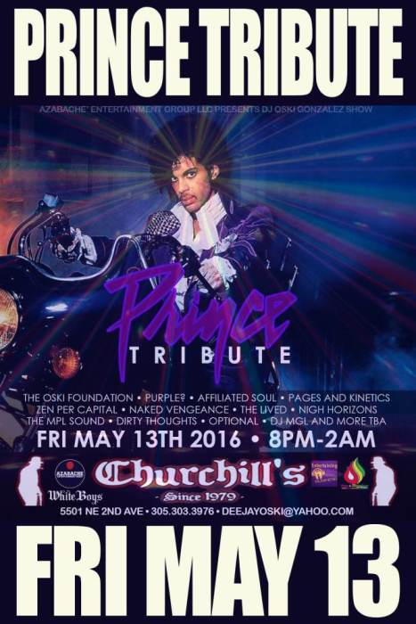 Prince Tribute with The Oski Foundation, Purple?, Affiliated Soul Pages and Kinetics Zen Per Capital, Naked Vengeance The Lived, Nigh Horizons, The MPL Sound Dirty Thoughts, Optional, DJ MGL more tba