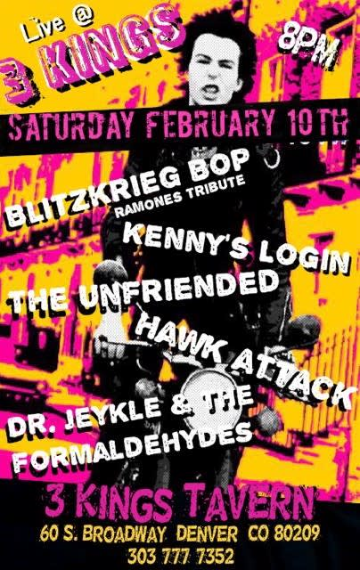 Blitzkrieg bop band, dr. Jeykle and the formaldehydes, kennys login, the unfriended, hawk attack