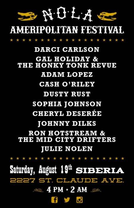 NOLA AMERIPOLITAN FEST:  Darci Carlson | Gal Holiday & The Honky Tonk Revue | Adam Lopez | Cash O