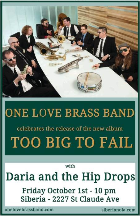 One Love Brass Band CD Release Party with Daria & the Hip Drops