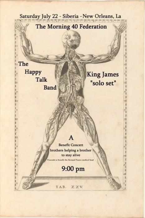 MORNING 40 FEDERATION   HAPPY TALK BAND   KING JAMES SOLO (A Benefit: Bernard Pearce Heart Transplant)