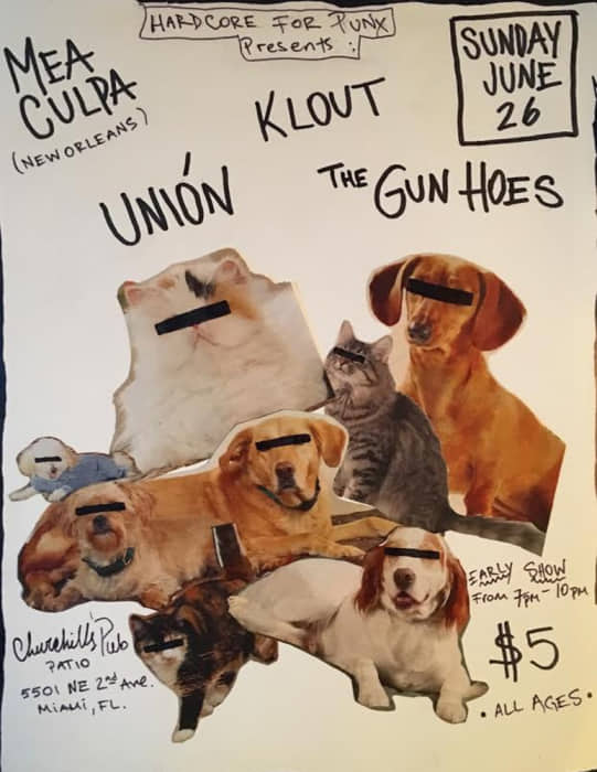 Early Punk Matinee Show with MEA CULPA (new orleans post punk), THE GUN HOES, KLOUT, UNION 7p-10p