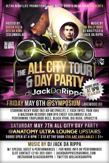 """JACK DA RIPPA AND XPERIENCE XPO PRESENT THE """"ALL CITY TOUR"""" W/ DJ JACK DA RIPPA & GUESTS  A BLEND OF HIP HOP, ROCK and R & B HOSTED BY POET / MC QUEEN CEE & DEV DA KING Also features Ricky Rude (NJ),, Byg Cheef (OH), Dee Dilla (OH), Wats Good Magazine and a host of other dope artist from across the country."""