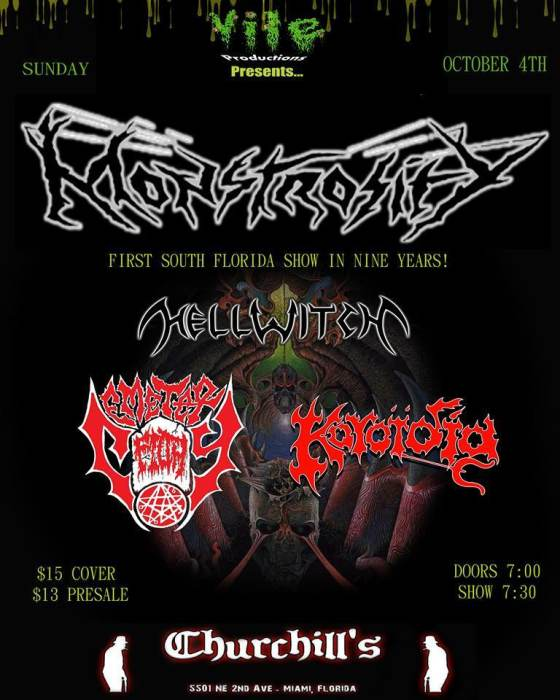 VILE PRODUCTIONS PRESENTS: MONSTROSITY w. HELLWITCH, CEMETERY FILTH (Tennessee), & KOROIDIA