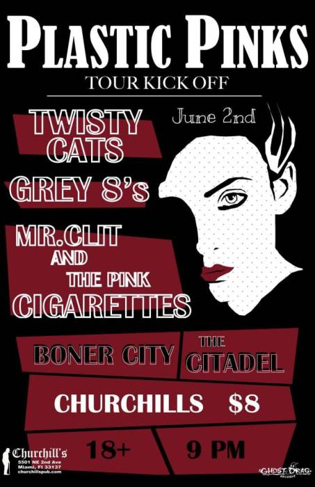 Ghost Drag Records Presents: Twisty Cats/ Plastic Pinks (Tour Kick Off) with Grey 8s, Mr Clit and The Pink Cigarettes, Boner City, & The Citadel