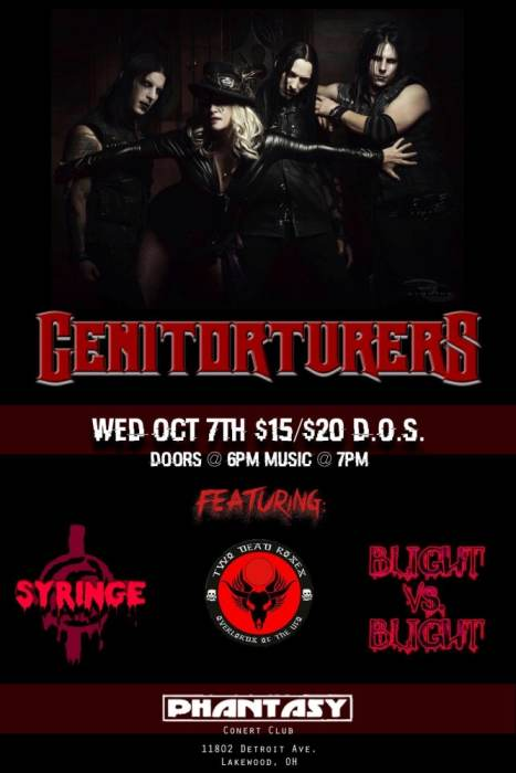 The Genitorturers with special guests Syringe / Blight vs Blight / Two Dead Roses