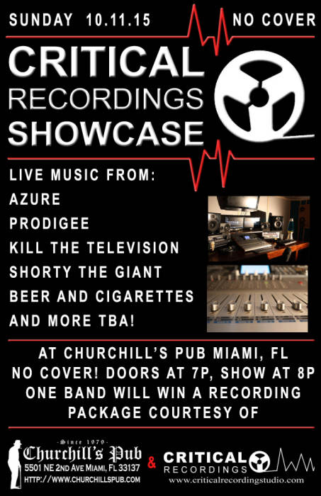 Critical Recordings Showcase with Azure, Prodigee, Kill the Television, Shorty the Giant, Beer and Cigarettes - NO COVER!