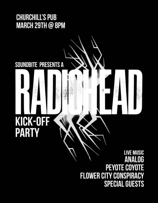 Soundbite Magazine Presents: A Radiohead Kick-off Party with Flower City Conspiracy, Analog, Peyote Coyote, and surprise guests!