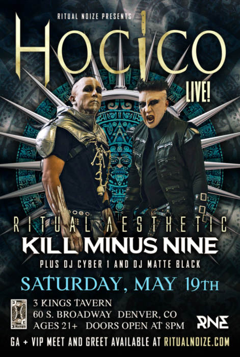Hocico,Ritual Aesthetic,Kill minus nine, DJs Matte Black and Cyber1