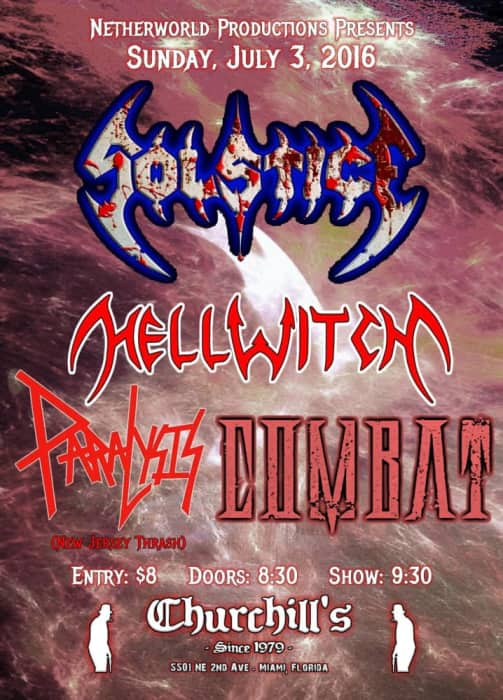 Netherworld Productions Presents: Solstice, Hellwitch, Paralysis, Combat