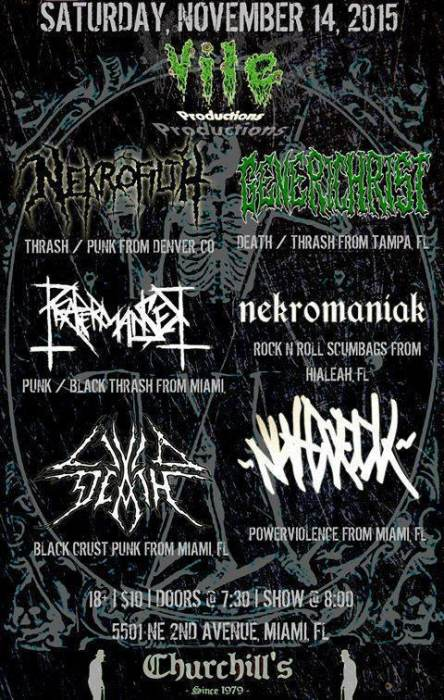 Vile Productions Presents: Nekrofilth W. Generichrist (Tampa), Reapermanser, Nekromaniak, Livid Death, & Nutcheck