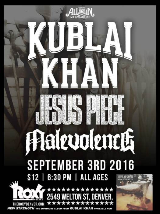 Kublai Khan w/Jesus Piece, Malevolence, and All In Merch.
