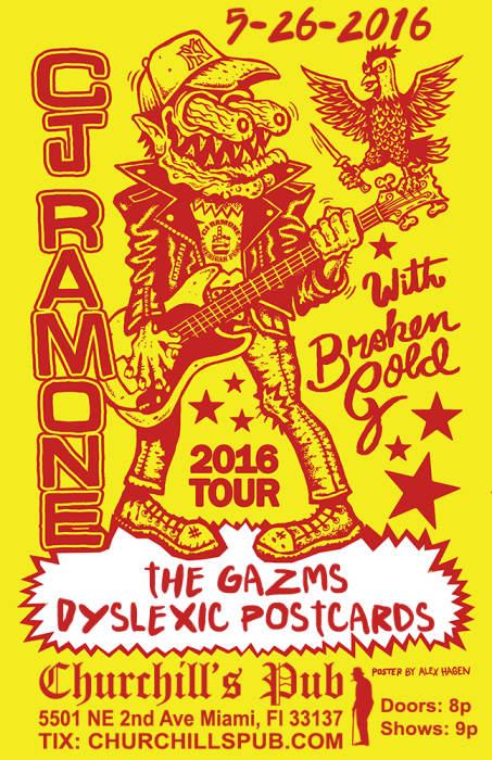 CJ RAMONE, BROKEN GOLD, THE GAZMS, DYSLEXIC POSTCARDS, DJ SKIDMARK!