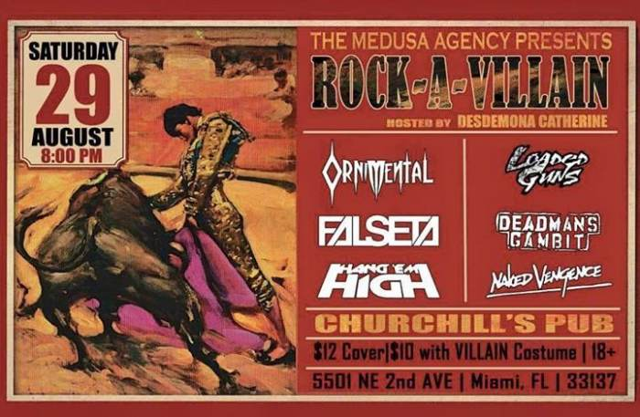"The Medusa Agency presents: ""ROCK-A-VILLAIN"" Rock Show with Ornimental, Loaded Guns, Falseta, Deadman"