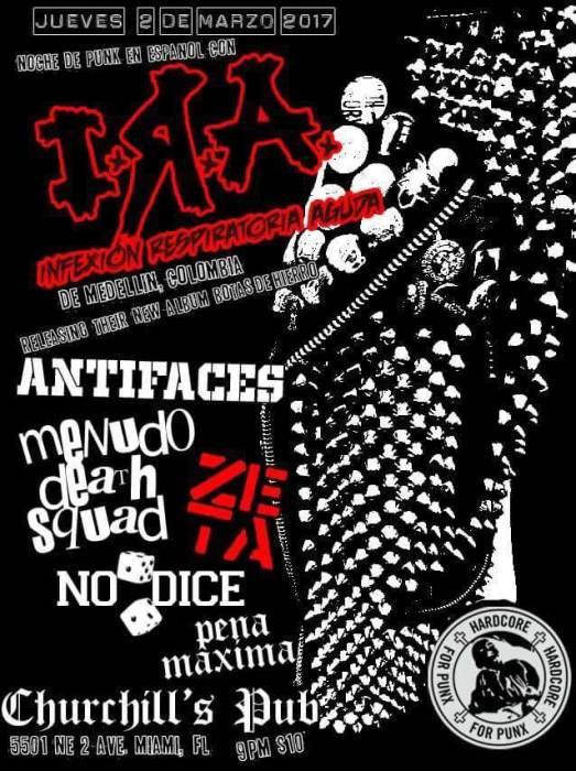 Hardcore For Punx presents IRA (Colombia), Antifaces, Zeta, Menudo Death Squad, Pena Maxima, & Despierta!Dispara!
