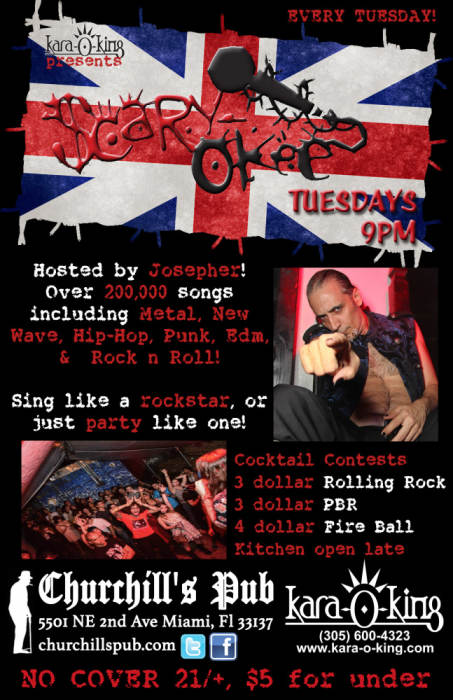 Scary-Okee Rockstar Karaoke with your host, Josepher! Over 200,000 Songs to choose from! No Cover!