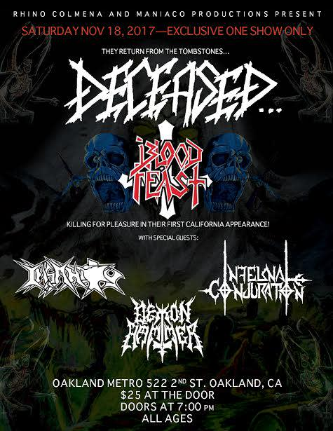 Deceased, Blood Feast, Insanity, Infernal Conjuration and Demon Hunter,