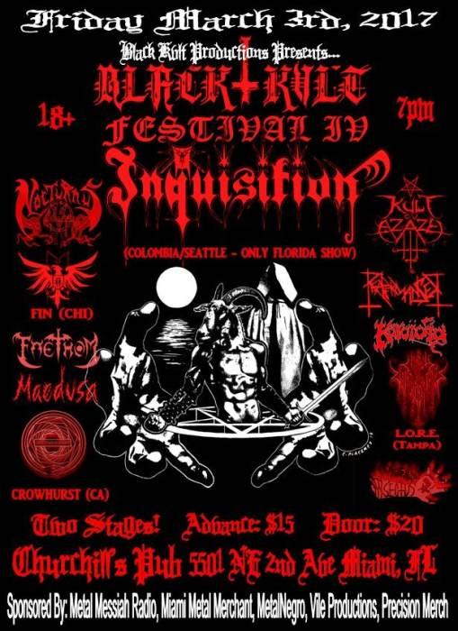 Black Kvlt Festival IV  - Inquisition, Crowhurst, Kult ov Azazel, Nocturnus A.D, Faethom, Koroidia, FIN, Reapermanser, Maedusa, L.O.R.E., Luciferian Insectus, and more TBA