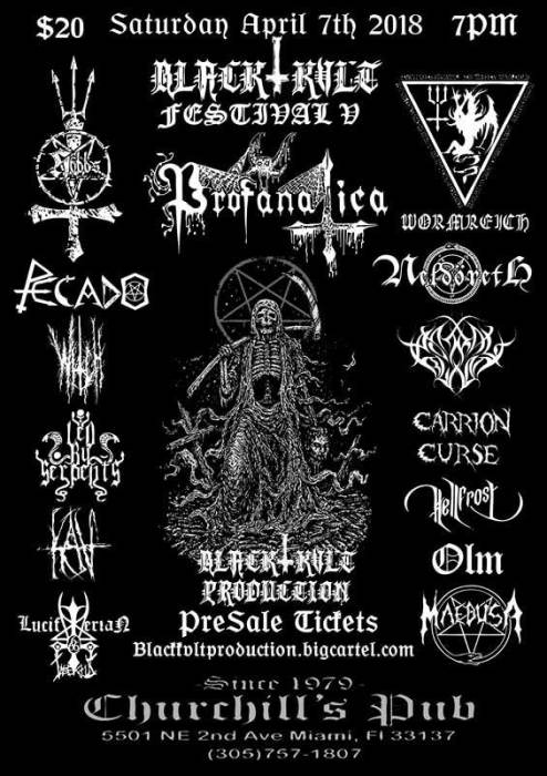 Black Kvlt Festival 5 W/ Profanatica, Wormreich, Pecado, Led By Serpents, Luciferian Insectus, Neldoreth, Kav, Gnosis, HellFrost, Witch of 1692, Maedusa, & more