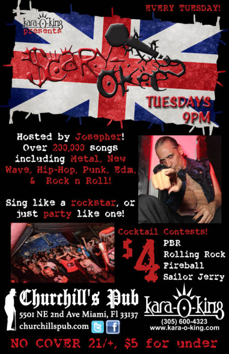 Scary Okee Rockstar Karaoke with over 200,000 songs to choose from in metal, hip-hop, punk, rock, 80s, and more! Hosted by Josepher Ringleader! No Cover! Karaoke Contest signup at 9pm!