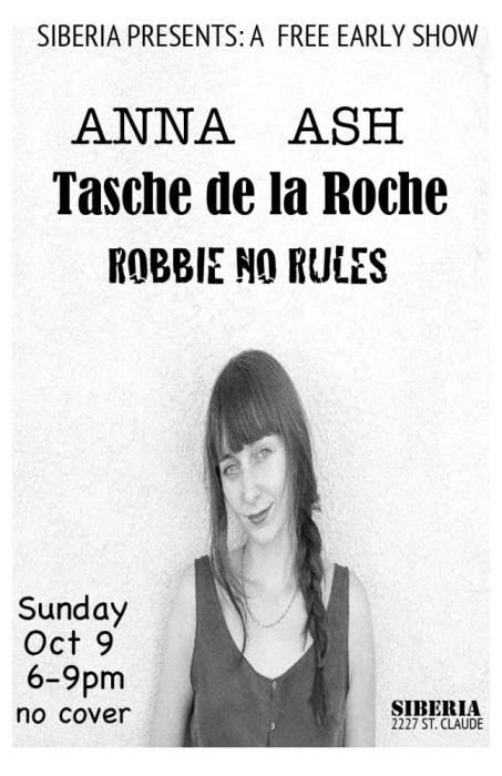 Anna Ash | Tasche de la Roche | Robbie No Rules - EARLY SHOW!