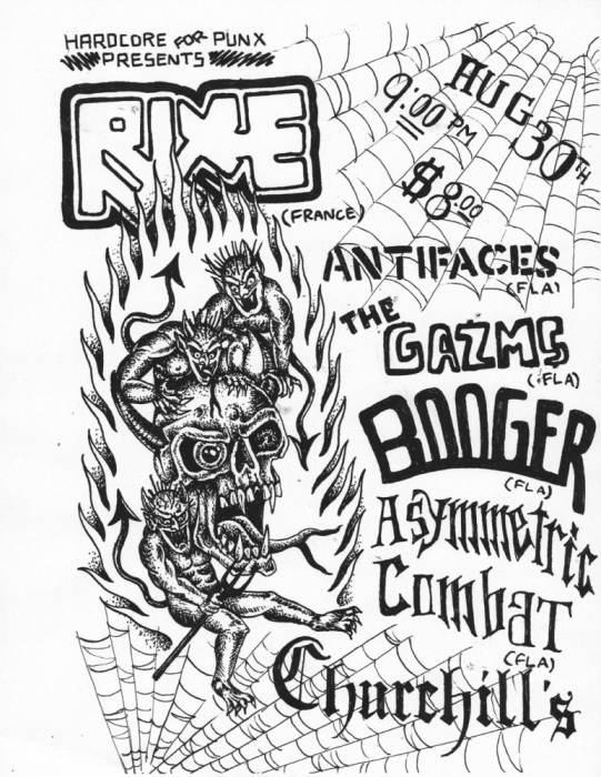 Rixe, Antifaces , The Gazms, Booger, Asymmetric Combat