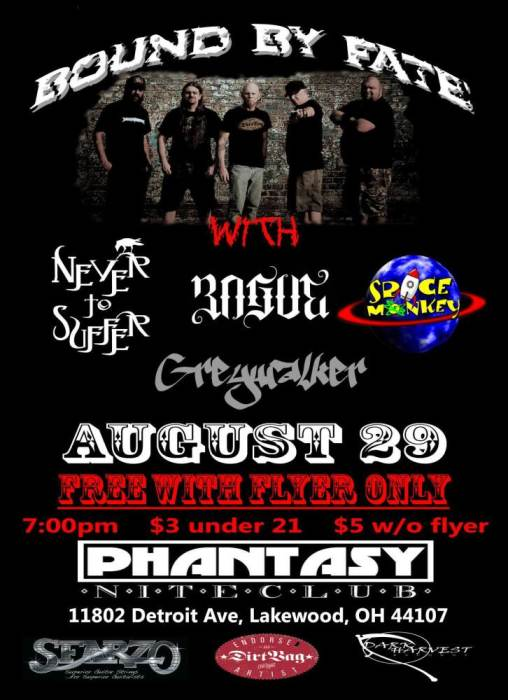 FREE SHOW!! Rogue Cleveland, Never to Suffer, Greywalker, and Space Monkey