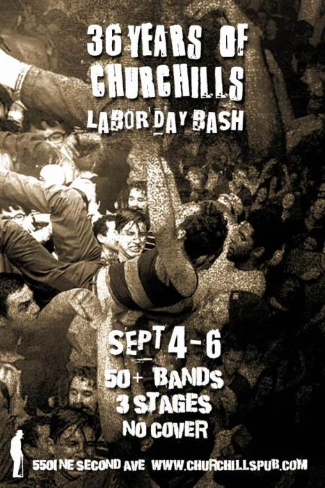 Churchill's Pub 36 Year Birthday Bash - No Cover - 50 Bands - All Weekend