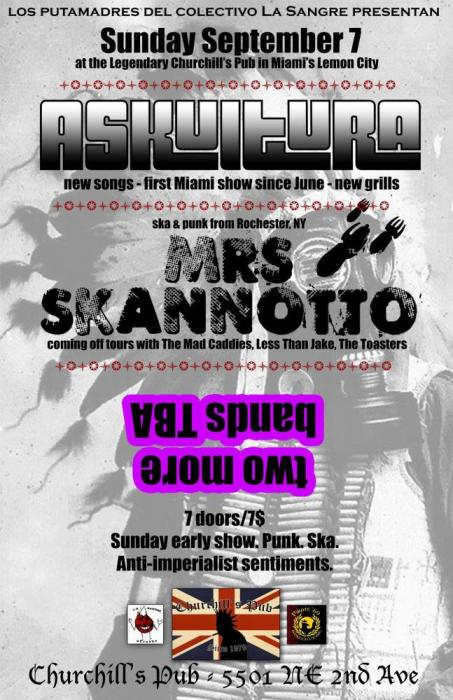 MRS SKANNOTO (Rochester, NY melodic ska punk), ASKULTURA, & TWO MORE BANDS TBA!
