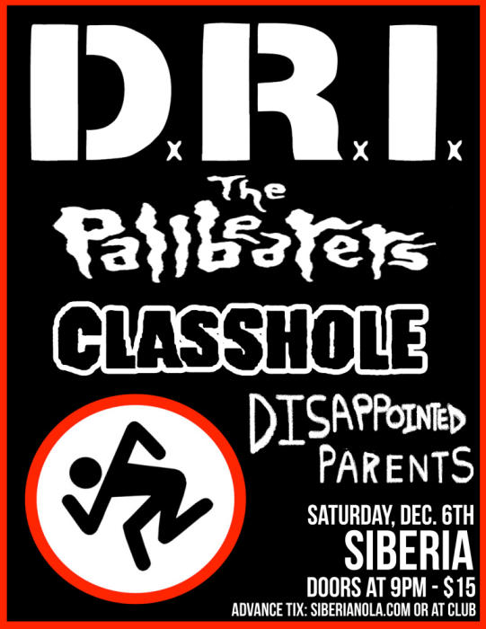 D.R.I. | Pallbearers | CLASSHOLE | DISAPpointed PARents