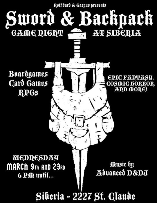 Sword & Backpack:  Siberia Game Night