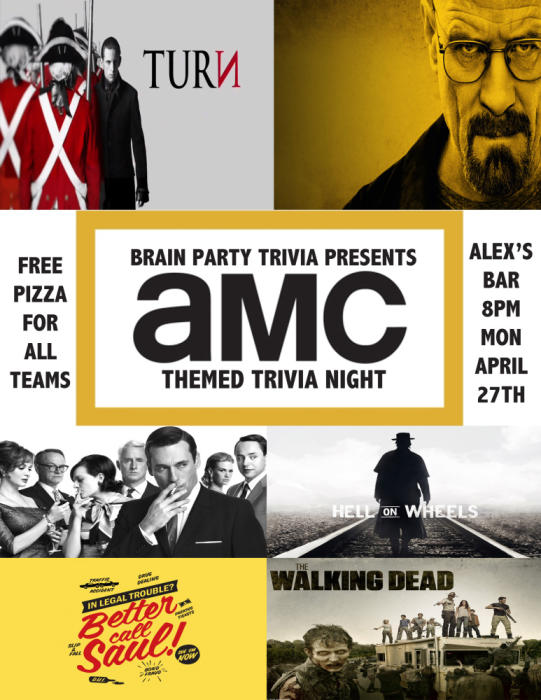 BRAIN PARTY TRIVIA NIGHT- SPECIAL AMC CHANNEL TRIVIA THEMED NIGHT