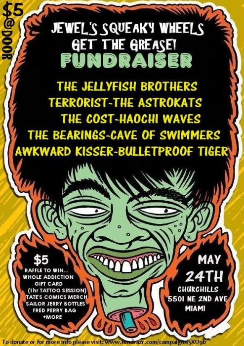Jewel's Squeaky Wheels Get the Grease Presents: A HULLABALOO of a Fundraiser!!! With The Astrokats, the Jellyfish Brothers, Haochi Waves, The Bearings, Bulletproof Tiger, Cave of Swimmers, Terrorist, Awkward Kisser, The Cost