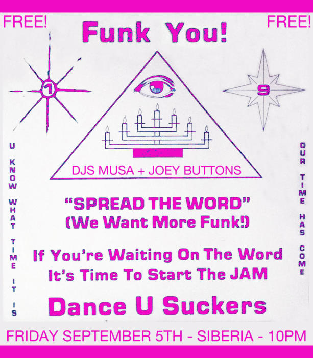 FUNK YOU!!!: Djs MUSA + JOEY BUTTONS