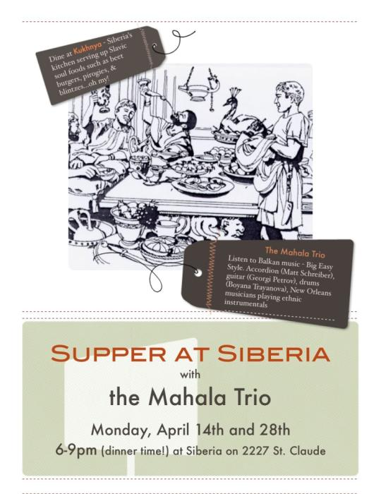 Supper at Siberia with Mahala Trio - Smoke Free Show!!!