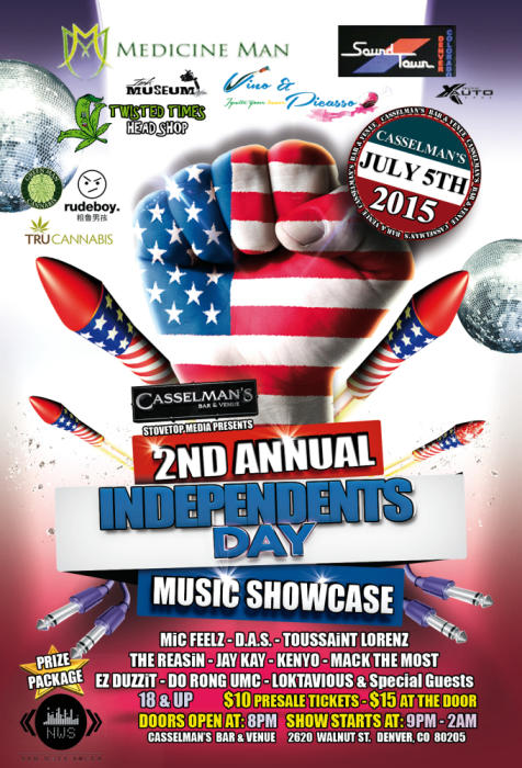 2nd Annual Independents Day Music Showcase w/Mic Feelsz, D.A.S, Toussaint Lorenz