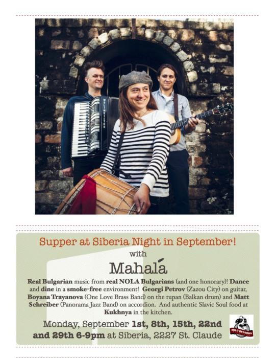 Supper at Siberia with Mahala Trio!!