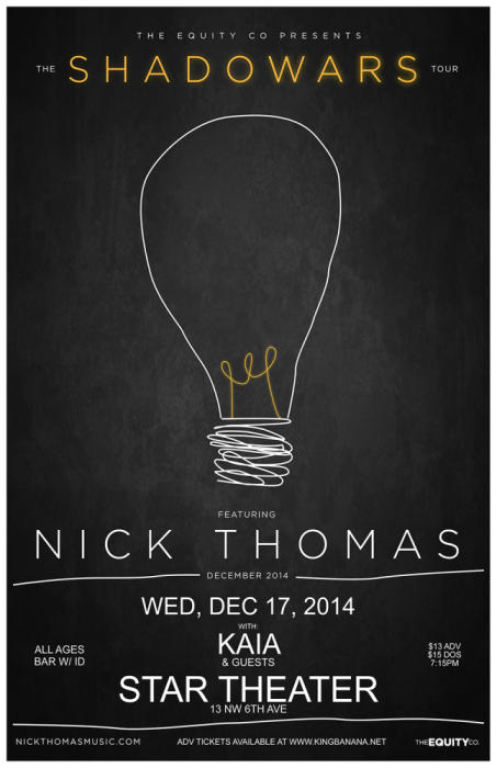 NICK THOMAS (of THE SPILL CANVAS) ***SHOW HAS BEEN MOVED TO STAR THEATER ALL TICKETS PURCHASED WILL BE HONORED***
