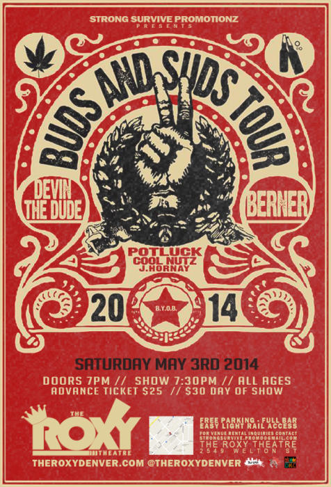 Buds & Suds Tour Featuring Devin The Dude, Berner, Potluck, Cool Nutz and J Hornay