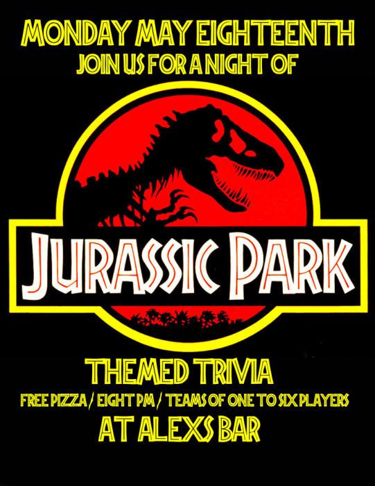 BRAIN PARTY TRIVIA NIGHT- SPECIAL JURASSIC PARK THEMED TRIVIA