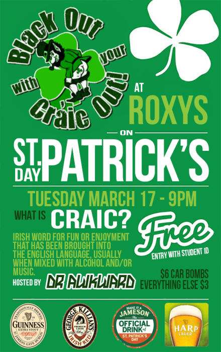 Black Out With Your Craic Out - St Patricks Day Party