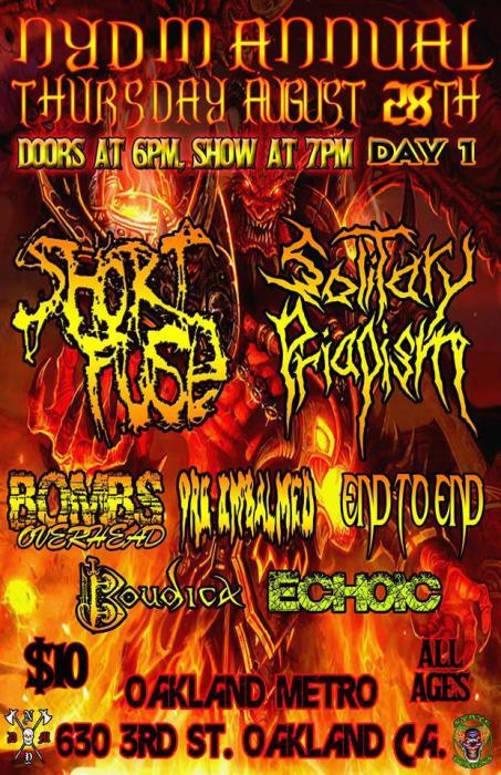 Shortfuse, Solitary Priapism, Bombs Overhead, Purification by Fire, Boudica, Echoic, Taco Ninjas