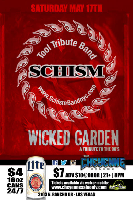 Tool tribute band SCHISM with Wicked Garden, Junkhead