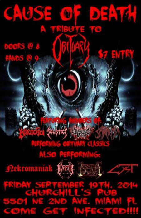 CAUSE OF DEATH a Tribute to OBITUARY with Korpsik, Nekromaniak, Escape, Cytst